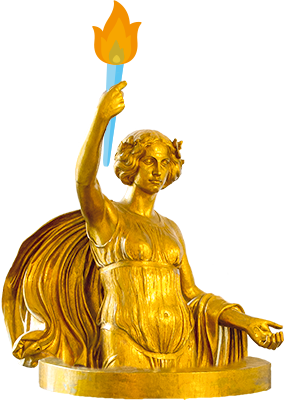 Golden angel statue holding a torch
