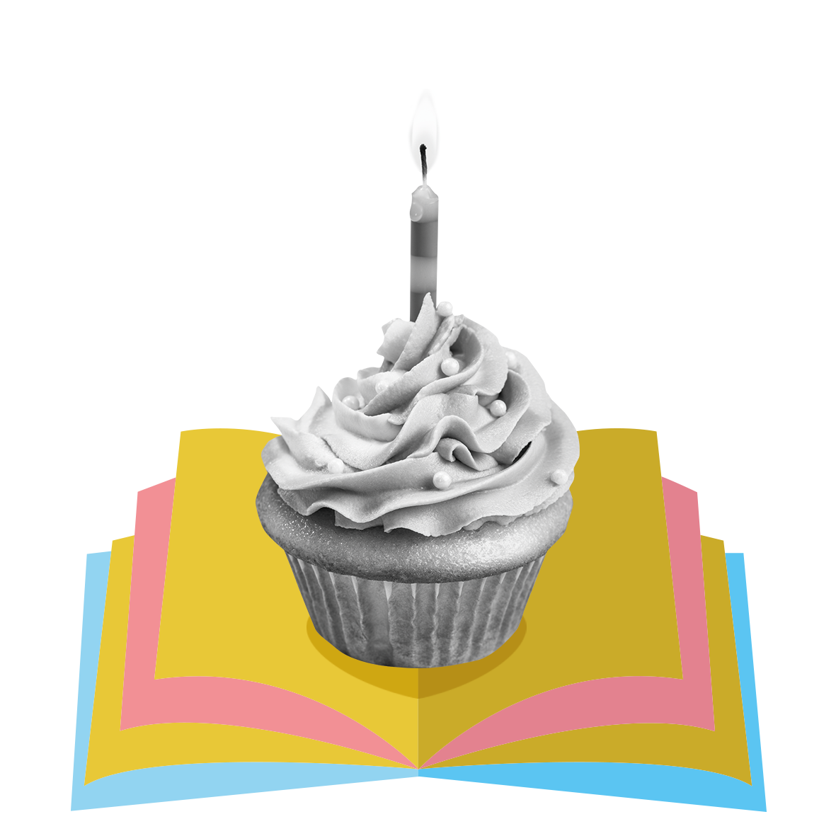 Birthday cake upon an open book