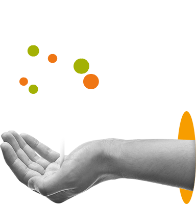 Hand holding the tree symbol of the TUM University Foundation