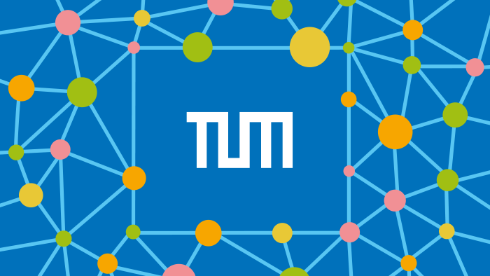 TUM logo surrounded by connected colored dots