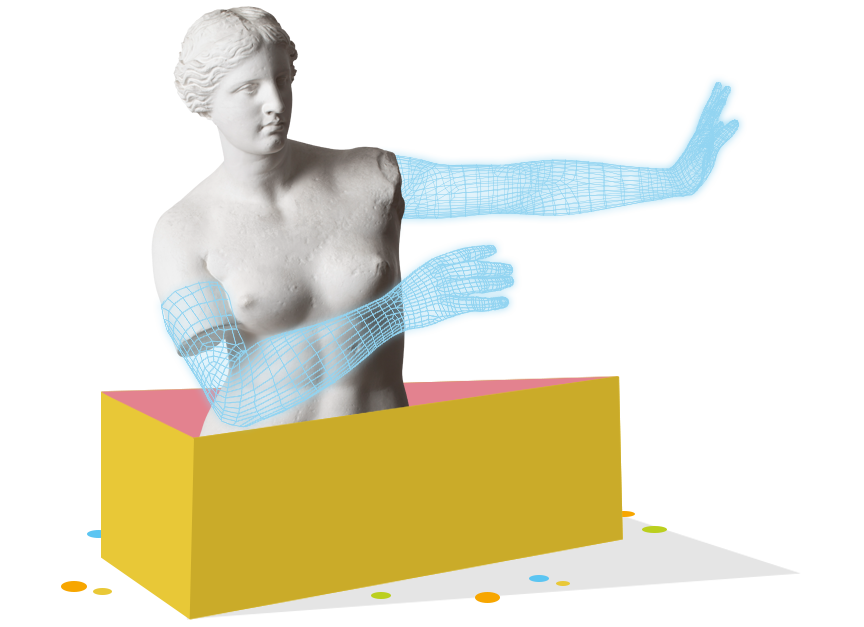 Plaster cast of the Venus de Milo with digitally modelized arms