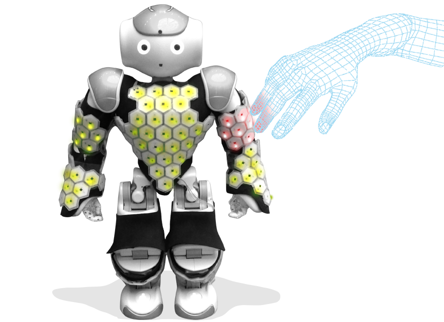 Roboter NAO mit Cellular Skin vom Institute for Cognitive Systems