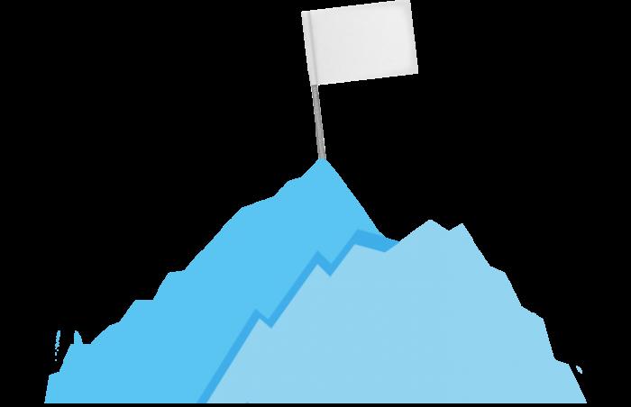 Zwei Berge mit Fahne auf dem Gipfel