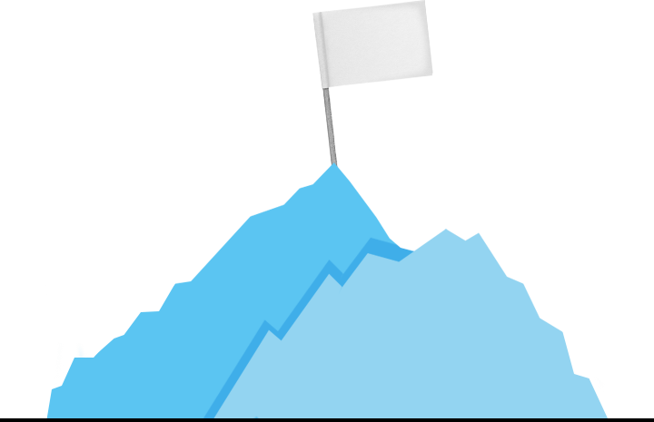 Sketch of two mountains with a flag on top