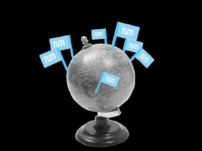 Weltkugel mit TUM-Faehnchen