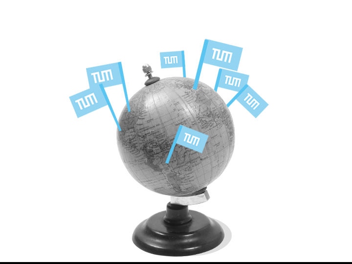 A globe with TUM flags