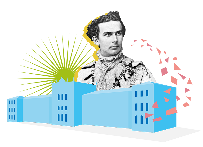 Collage of King Ludwig II and the Polytechnic School building
