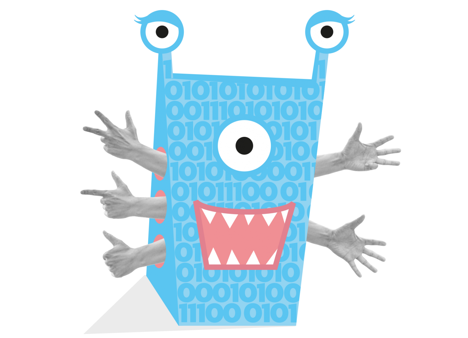 Collage of a finger-counting monster