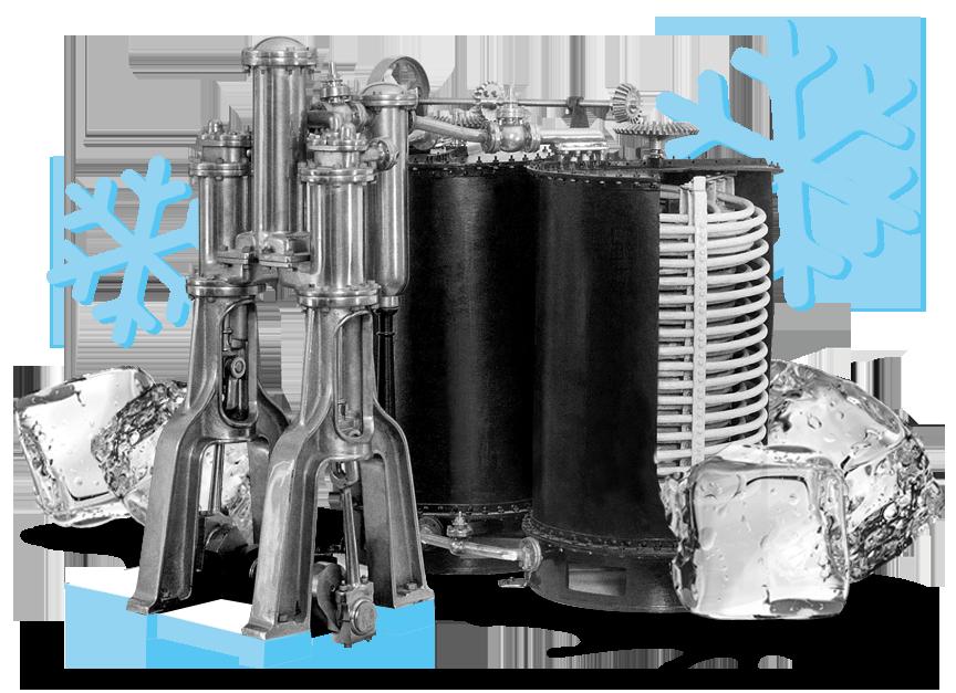 Collage Linde Kältemaschine mit Eis