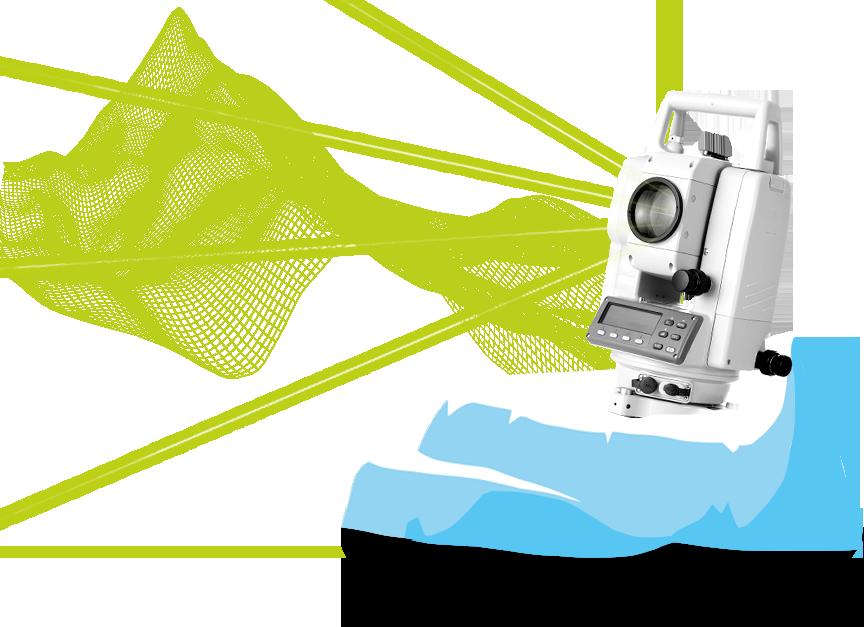 Theodolit auf Gletscherscholle mit digital modelliertem 3D-Netz eines Gebirges