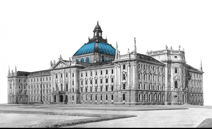 Zeichnung Justizgebäude mit freitragender Glas-Eisen-Kuppel
