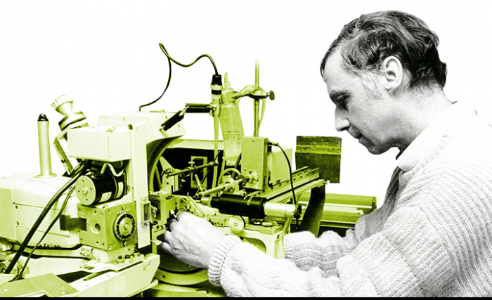Prof. Huber in the 1980s examining an X-ray diffractometer