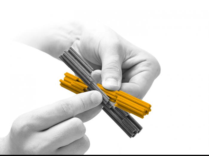 Model of DNA building blocks that slot together
