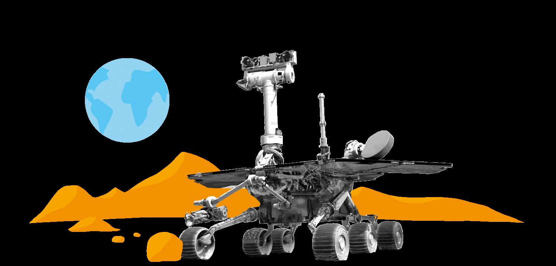 Collage: NASA Marssonde Opportunity auf Marsoberfläche