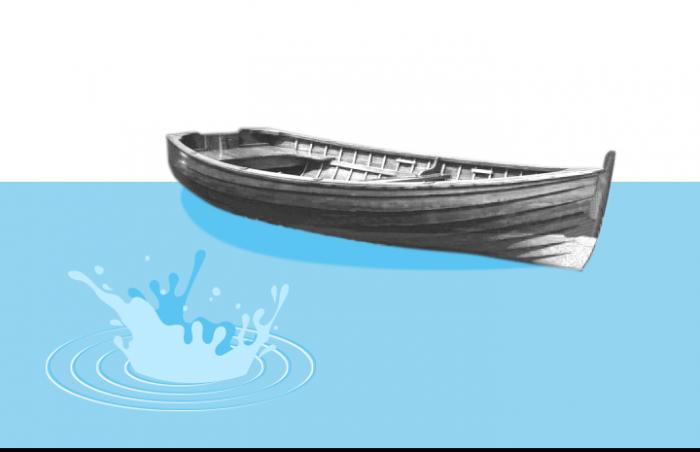 Collage: Ein Boot im Wasser