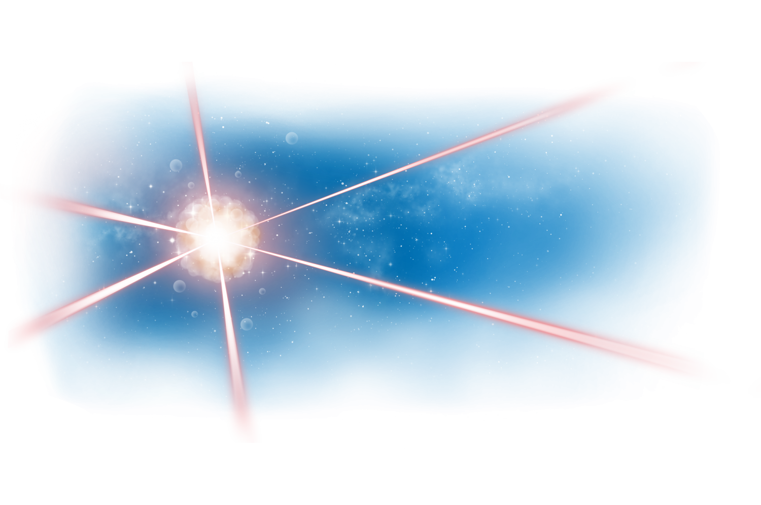 Artist's impression of an atom cloud at the crossing of laser beams created in outer space